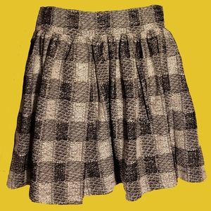 Free People Black Gray Checkered Plaid Knit Skirt